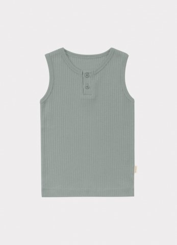 【オーガニックタンクトップ】HAPPYOLOGY Kids Ribbed Organic Cotton Jersey Vest, Alga