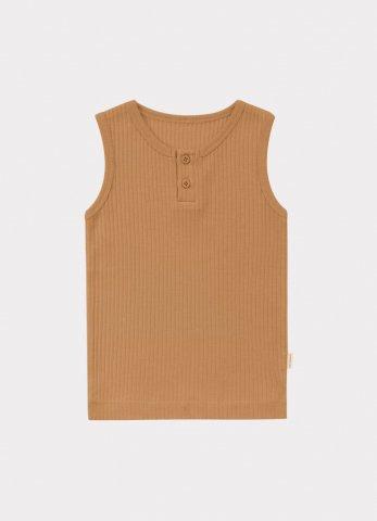 【オーガニックタンクトップ】HAPPYOLOGY Baby Ribbed Organic Cotton Jersey Vest, Camel