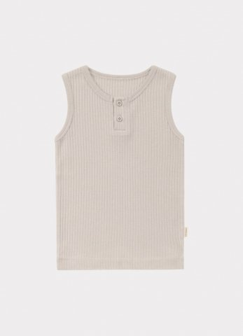 【オーガニックタンクトップ】HAPPYOLOGY Kids Ribbed Organic Cotton Jersey Vest, Baby Grey