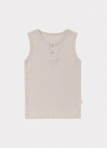 【オーガニックタンクトップ】HAPPYOLOGY Baby Ribbed Organic Cotton Jersey Vest, Baby Grey