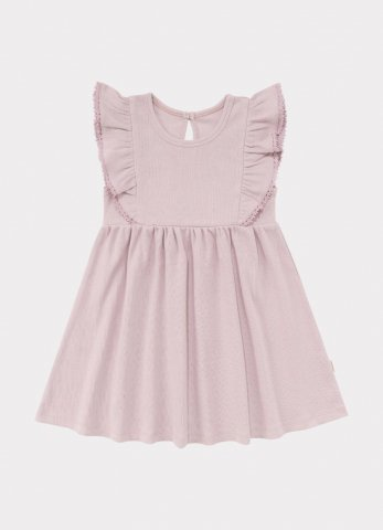 【オーガニックワンピース】HAPPYOLOGY Kids Olivia Ribbed Organic Cotton Jersey Dress, Lilac
