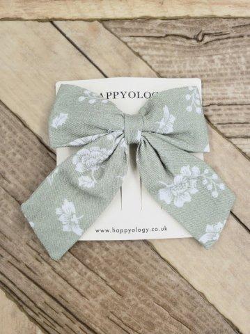 【ヘアアクセ】HAPPYOLOGY  Perrie Hair Bow, Antique Green Floral