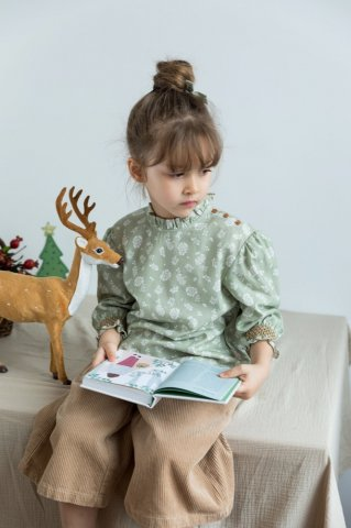 【ブラウス】HAPPYOLOGY Kids Millie Blouse, Antique Green Floral