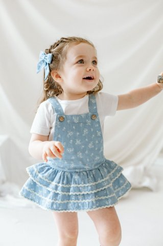 【セットアップ】HAPPYOLOGY Baby Leydene T-shirt&Romper set, Denim rose