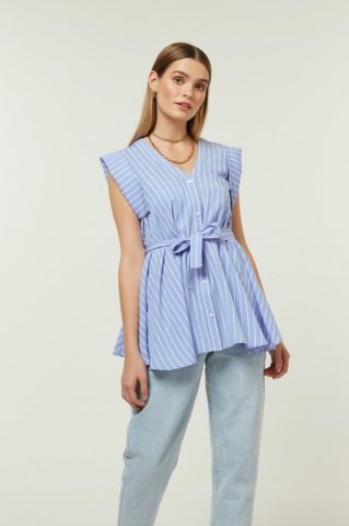 【シャツ】JOVONNA MOUFFLE SHIRT-STRIPES
