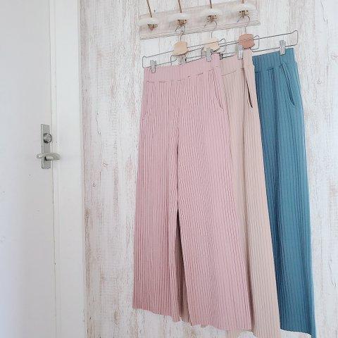 【リブワイドパンツ】Ribbed wide pants