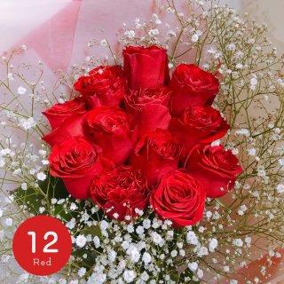 [LoveRose] プレミアムローズ 大輪バラの花束 ダーズンローズ レッド 12本
