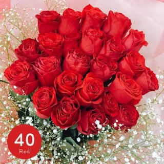 [LoveRose] プレミアムローズ 大輪バラの花束 レッド 40本