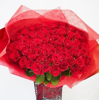 [LoveRose] プレミアムローズ 大輪バラの花束 レッド 100本 <プロポーズ 誕生日 記念日>