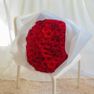 [LoveRose] プレミアムローズ 大輪バラの花束 プロポーズローズ レッド 108本
