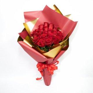 [LoveRose] プレミアムローズ 大輪バラの花束 レッド 20本