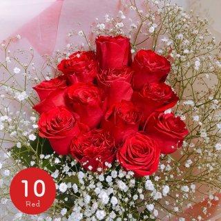 [LoveRose] プレミアムローズ 大輪バラの花束 レッド 10本
