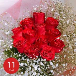 [LoveRose] プレミアムローズ 大輪バラの花束 レッド 11本