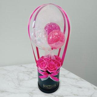 [RoseGift] ローズギフト 気球バルーンラウンドボックスローズ ピンク