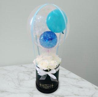 [RoseGift] ローズギフト 気球バルーンラウンドボックスローズ ホワイト