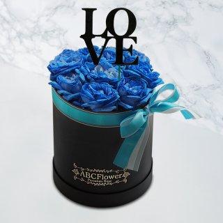 [LOVE] ホワイトデーギフト ラウンドボックスローズ ブルー