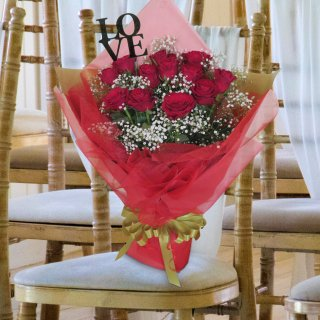 [LOVE] ホワイトデーギフト プレミアムダズンローズ バラ花束 レッド 12本