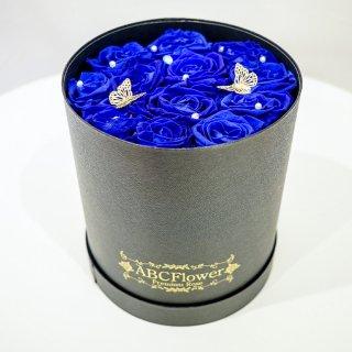 プリザーブドローズラウンドボックス BUTTERFLIES ブルー