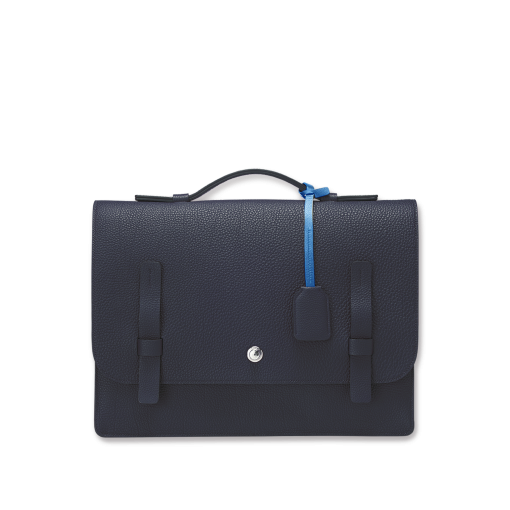 T Briefcase(L)<br>German Shrunken Calf×Soft Calf<br>Arctic Blue×Ink Blue