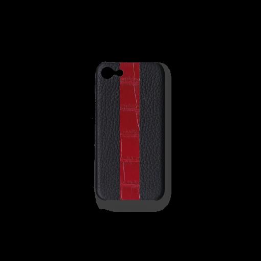 iPhone 7, 8 & SE Case/ST<br>French Crisp Calf×Mississippi Alligator<br>Black×Glossy T-Red