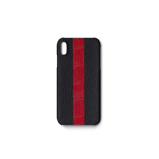 iPhone XS Max Case/ST<br>French Crisp Calf×Mississippi Alligator<br>Black×Glossy T-Red