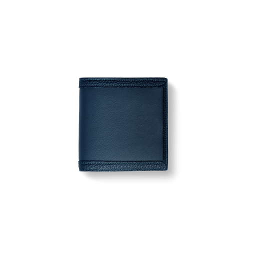Compact Wallet w/ Coin Case<br>Soft Calf×Shrink Calf Frame<br>Midnight Blue