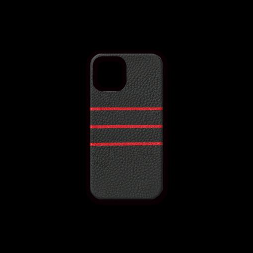 iPhone 12 & 12 Pro Case/BD<br>German Shrunken Calf×Goat<br>Black×Red