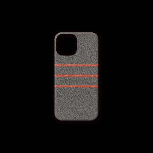 iPhone 12 & 12 Pro Case/BD<br>German Shrunken Calf×Goat<br>Titanium×Orange
