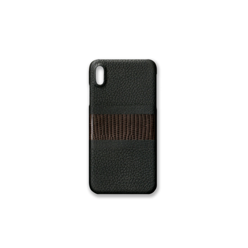 iPhone XS Max Case/RC3<br>French Crisp Calf×Lizard<br>Black×Earth