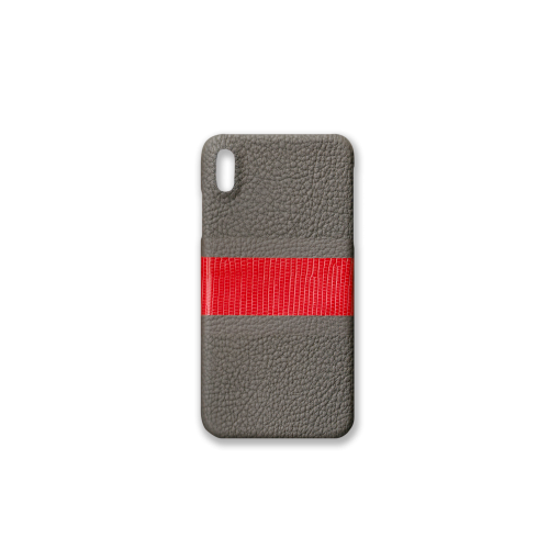 iPhone XS Max Case/RC3<br>French Crisp Calf×Lizard<br>Titanium×Red