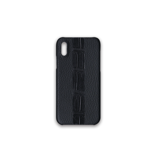 iPhone X & XS Case/ST<br>French Crisp Calf×Mississippi Alligator<br>Black×Black