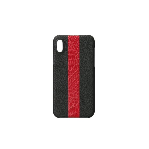 iPhone X&XS Case/ST<br>French Crisp Calf×Mississippi Alligator<br>Black×Glossy T-Red