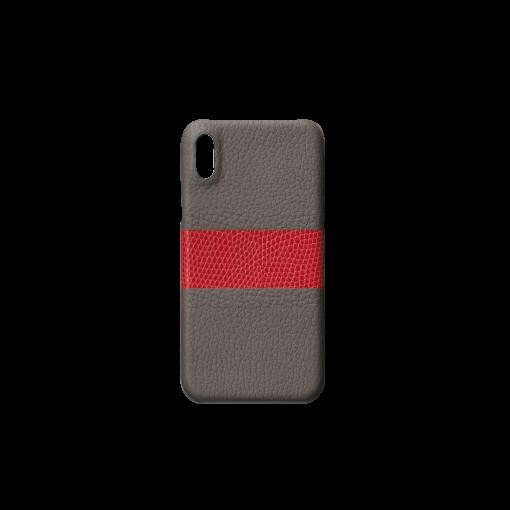 iPhone X & XS Case/RC3<br>French Crisp Calf×Lizard<br>Titanium×Red