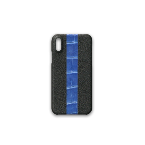 iPhone X&XS Case/ST<br>French Crisp Calf×Mississippi Alligator<br>Black×Glossy Sapphire