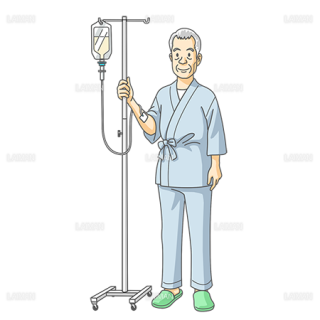 点滴の男性患者(Mサイズ)