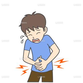 患者イラスト 腹痛(Mサイズ)