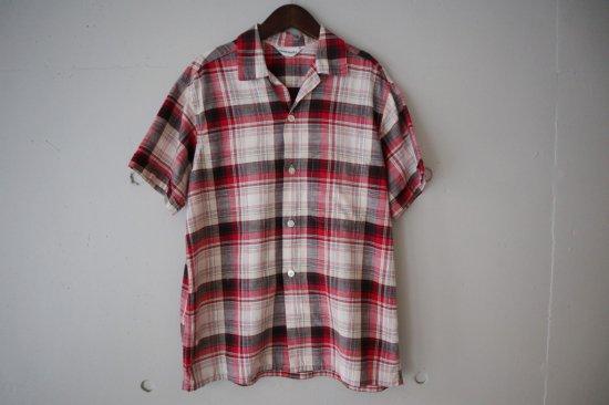 50's Swim Mates Cotton Check Open Collar Shirts Size:M