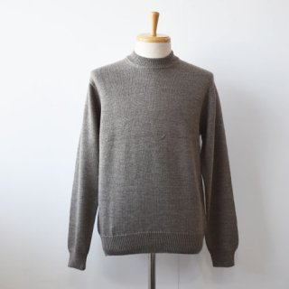 【ENDS and MEANS】  Merino Wool Crew Neck Knit -Gray Brown-