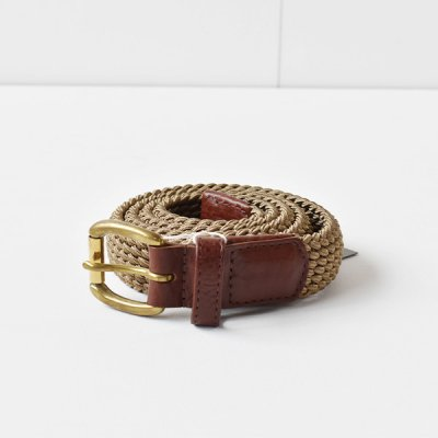 【 ENDS and MEANS】 ELASTIC WOVEN BELT -Beige-