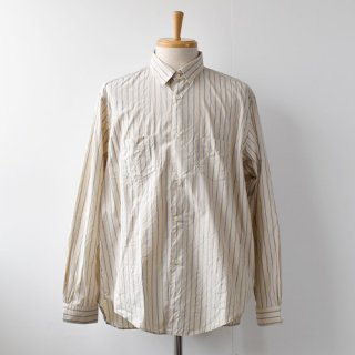 【ENDS and MEANS】  Aldous Shirts   -Beige / Sax Stripe-