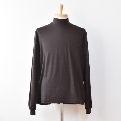【ENDS and MEANS】 2021AW Pocket L/S Mock Neck TEE  -Dark Brown-