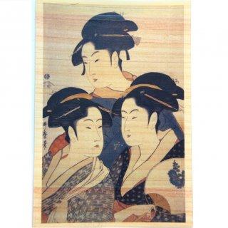 木のポストカード(寛政三美人)
