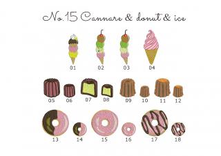 【刺繍データダウンロード】2-11 Cannare & donut & ice