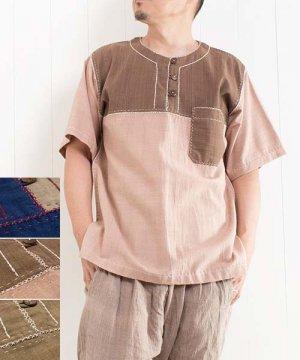草木染め手織り綿の手縫いプルオーバー/半袖 sale