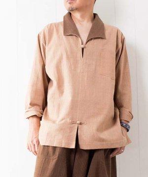 草木染め手織り綿のスキッパー(ライトブラウン) sale