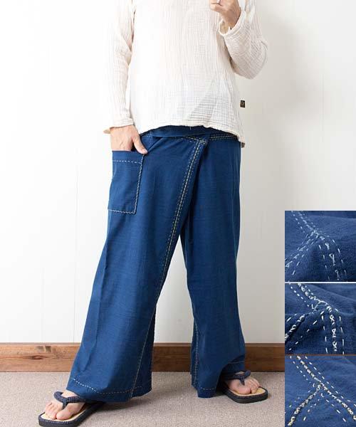 藍染め手織り綿の手縫いタイパンツ(インディゴ) sale