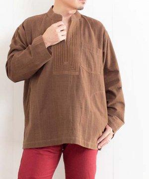 草木染め手織り綿の胸元ステッチクルタ(ブラウン) sale
