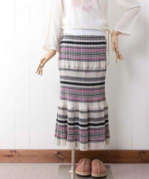 モン族手織りコットンヘンプ・ロングスカート(5)