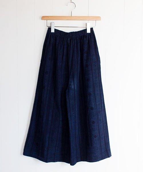 モン族藍染めバティックのガウチョパンツ(7)