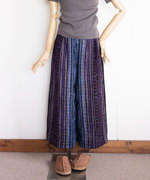 モン族藍染めバティックと刺繍のガウチョパンツ(1)